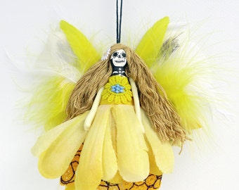 Flower Fairy - Day of the Dead ornament - fairy ornament, handmade Christmas ornament, OOAK fairy peg doll