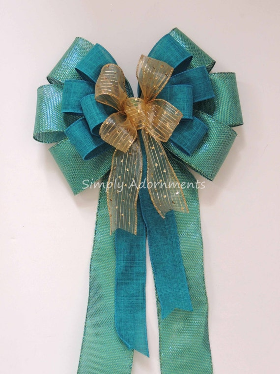 Teal Gold Christmas wreath bow Teal gold Tree Topper Bow teal Gold Wedding Bow Teal Blue Gold Wedding Church Pew Bow Teal Gold Door Swag Bow