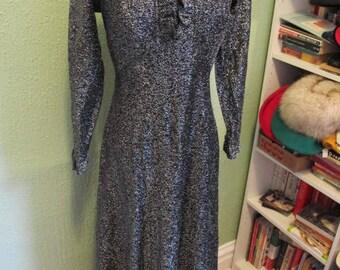 1960s Black Lurex Maxi Party Dress Gown sz s/m