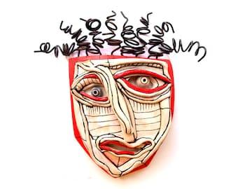 Wall mask, Red ceramic mask, Weird art,  Crazy art sculpture, Art Assemblage, Wall Ceramic mask, Abstract face, Wire art sculpture, Fun art