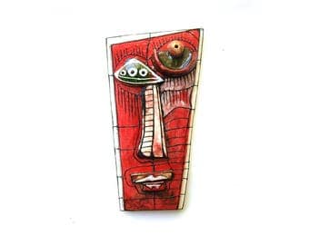 Weird art mask, Red ceramic mask, Strange art, Crazy art, Wall sculpture, Wall mask, Red sculpture, Modern eramics, Red modern ceramic