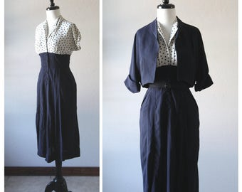 Classic Navy Blue Polka Dot Dress Set with Bolero and Belt / Vintage 1940s / Fitted Wiggle Dress