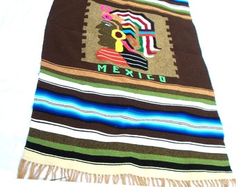 Bohemian Mexican Serape Blanket Aztec Warrior Boho Beach Throw