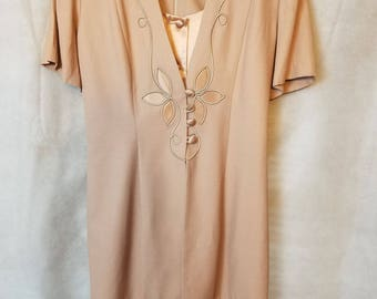 L XL Extra Large Vintage 80s Pale Taupe Cream Beige Modest Spring Secretary Mother of the Bride Easter Dress