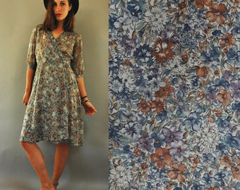 sale   1970s Grey Blue Muted Floral Semi Sheer Wrap Dress