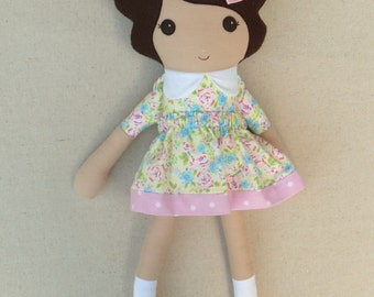 Fabric Doll Rag Doll Brown Haired Girl in Pink Floral Calico Dress with Pink Maryjanes