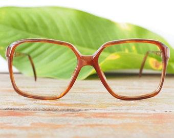 Eyeglasses Vintage 1970's Oversize Made In Israel New Old Stock Frames Brown Toned Glasses Square
