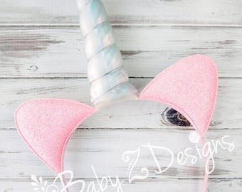 Unicorn Headband - Featuring Pink Glitter Ears and an Iridescent Unicorn Horn - Perfect for Toddlers, Girls, Tween, Teen, or even Adult!