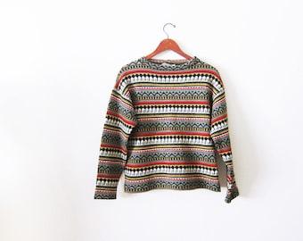 Vintage Sweater / Swedish Sweater / 60s Sweater / Fair Isle Sweater / Wool Sweater / Nordic Sweater / Ski Sweater