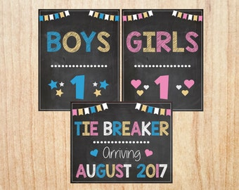 Tie Breaker Pregnancy Announcement PRINTABLE Baby #3 Chalkboard boys girls tiebreaker third child