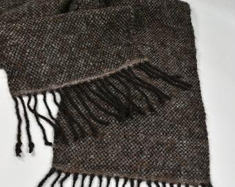 Handwoven alpaca black coffee brown  tweed