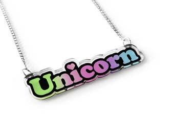 Unicorn Necklace - Kawaii Necklace, Pastel Grunge, Word Necklace, Fairy Kei, Magical  Unicorn Jewelry