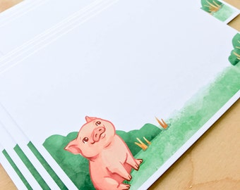 Pig Cards, Stationery set - Flat Stationery, Note Card Set, thank you, any occasion, cute cards, Animal cards, unique Cards, cards set, farm