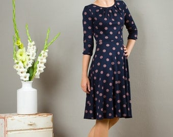 "Dress ""Elisa"", with a round skirt and little falts in blue with dots"
