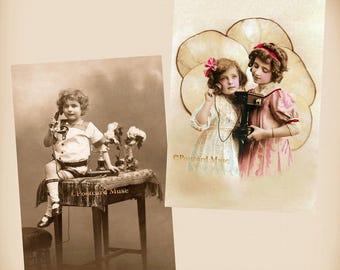 Children - Telephone - 2 New 4x6 Vintage Postcard Image Photo Prints  CE48 CE137