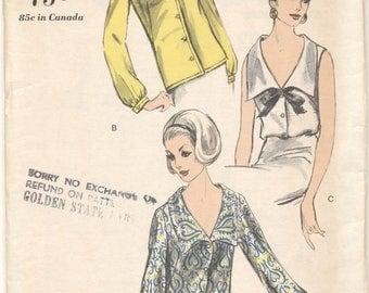 Vintage 1950s Vogue Pattern 6525 Misses Blouses Bust 34