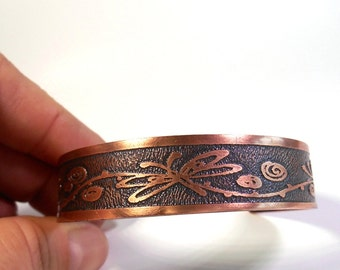 Whimscial Dragonfly, Bug Jewelry, Etched Copper Jewelry, Lady Bug, Butterfly, Dragonfly, Whimsical Jewelry, Thin Cuff, Ready to Ship, Gift