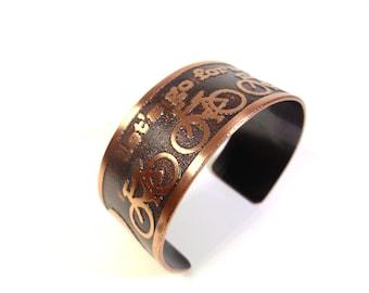 Bicycle Jewelry, Etched Copper Jewelry, Unisex Bracelet, Mens Jewelry, Bracelet Women, Oxidized Copper Cuff, Cyclist Jewelry Gift Handmade
