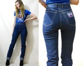 """70s Vintage STAGGERS Jeans High Waisted Skinny Leg Tight Fitted Sharpie Dark Blue Denim Extra Long Late 1970s vtg Pants XS 25"""""""