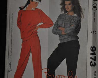 1980's Brooke Shields Pattern - Top and Pants for stretch knits - Size Large - UNCUT - McCall's 9173