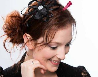 Black fascinator, headband fascinator, ribbon flower feathers, fascinator pink, fascinator headband fascinator derby, feather black headband