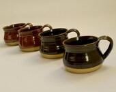 Set of Four Vintage Pottery Mugs