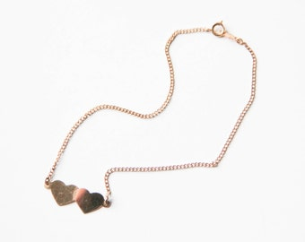 Gold filled double heart charm anklet | Heart charm jewelry | Heart ankle bracelet | 12k gold filled jewelry | Ankle bracelet |