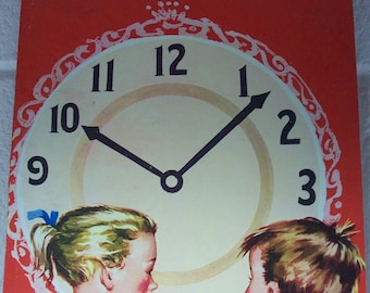 WHAT TIME IS It? Large Children's Book Pre-School Nursery Treasure Learning 1954 How to Tell Time