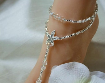 Crystal Beach Wedding Barefoot Sandals Bottomless Wedding Sandal Starfish Foot Jewelry Destination Wedding Rhinestone Anklet Barefoot Sandal