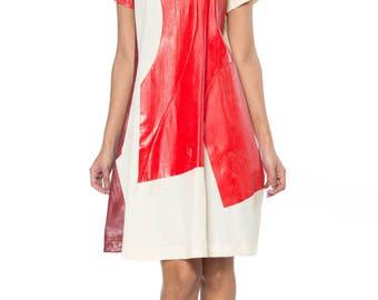 1995 Comme Des Garcons Hand-painted Patchwork Muslin Dress Size: 2-4