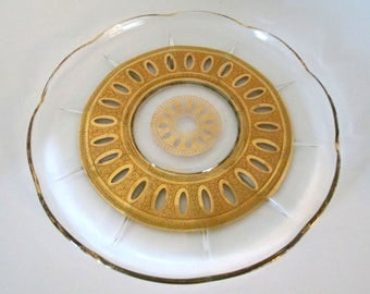 Mid Century Modern Signed Culver Glassware Serving Tray