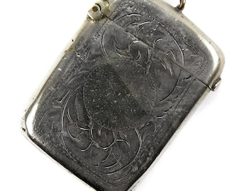 Antique Edwardian Vintage Silver Plated Match Holder Vesta Case