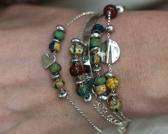 Heart Bracelet, Silver Heart Bracelet, Beaded Bracelet, Simple Bracelet, Dainty Bracelet, Stacking Bracelet, Layering Bracelet, Bohemian