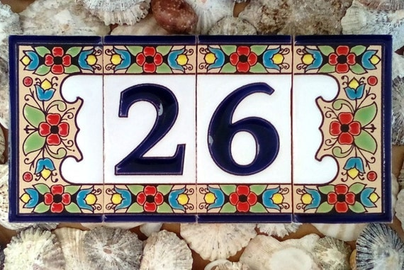 Ceramic house number sign Address plaque Mail by