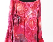 Size Large Tiered Bell  Sleeve Peasant Tunic Top, Rayon Light, Ice Dyed Tie Dyed Red and Black Colors,  READY To SHIP
