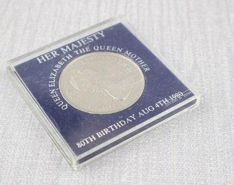 Vintage British Coin Queen Elizabeth The Queen Mother Birthday 1980 Commemorative Coin