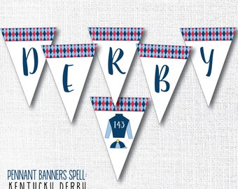 KENTUCKY DERBY pennant banner, go baby go, derby party, derby decor, party sign, jockey, instant digital download diy printable file