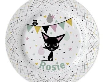 Bordje gepersonaliseerd met naam naar keuze met katje - kraamcadeau, naambordje, cadeau baby, cadeau kind