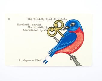 The Wind-Up Bird Chronicle - Print of my painting of bird on library card catalog card
