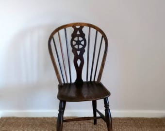 Antique Wheel Back Kitchen Chair