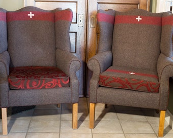 swiss army blanket pair of fireside wingback chairs vintage blanket chairs wingback chairs