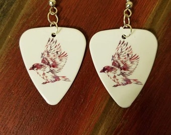 Beautiful bird feather flower design guitar pick earrings necklace country jewelry southern farm girl Christmas gift Birthday Friend gift