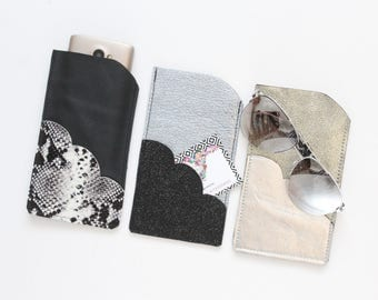 Natural leather glasses / phone case with scalloped pocket / in large size / metallic shades - choose your color-ready to ship