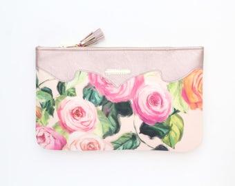 Flower clutch bag. Leather handbag. Wedding clutch. Evening clutch. Bridesmaid clutch. Statement purse. Pink handbag. Pastels. /SUMMER 11