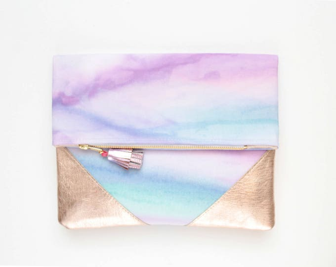 PALOMA 5 / Leather clutch purse-dyed cotton bag-fold over purse-hand colored bag-watercolor fabric-leather tassel-purpe blue-Ready to Ship