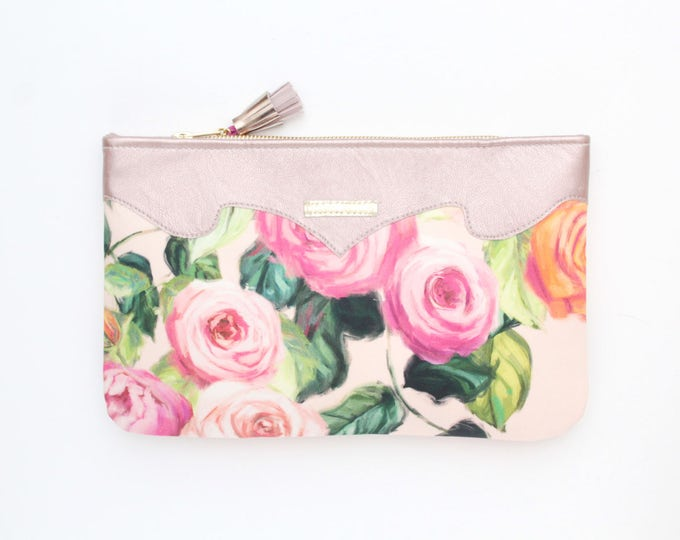 Flower clutch bag. Leather handbag. Wedding clutch. Evening clutch. Bridesmaid clutch. Statement purse. Pink handbag. Pastels. /SUMMER 11