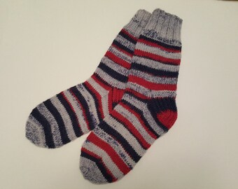 Hand Knitted Wool Socks - Colorful Wool Socks for Men -Mens Socks -Size Medium US W9,5-10,EU43
