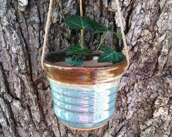 Hanging Pottery Planter, Succulent Planter, Hanging Flower Pot