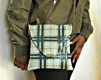 Handmade Crossbody Bag, Leather Crossbody, Plaid Messenger Bag, Patent Leather Purse, Blue Tan Crossbody, Shoulder Bag, Leather Handbag