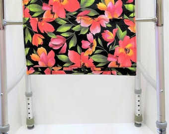 Flowers Floral Walker Bag, Walker Pockets, Closet Organizer, Director Chair Organizer, Travel Organizer, Accessories Bag, Wheelchair Bag